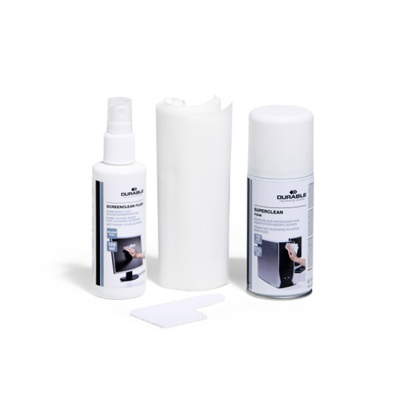 Набор Durable PC Cleaning Kit, для ухода за компьютером, спрей 125 мл, пена 150 мл, 10 салфеток